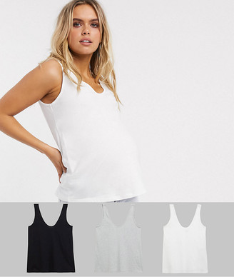 Asos DESIGN Maternity ultimate organic cotton scoop neck singlet 3 pack SAVE