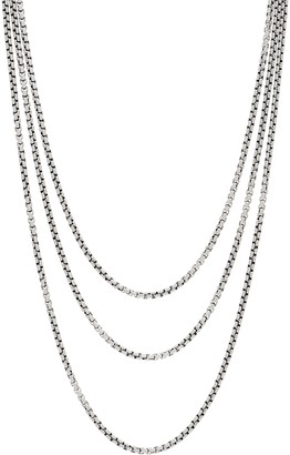 "JAI Sterling Silver 3.7mm Box Chain 72"" Necklace, 96.4g"