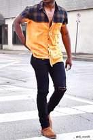 21men 21 MEN Dip-Dye Flannel Plaid Shirt