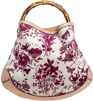 Gucci White/Pink Floral Canvas and Leather Peggy Bamboo Handle Hobo