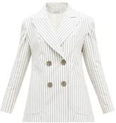 Vika Gazinskaya Striped Cotton-blend Seersucker Suit Jacket - Womens - Blue Stripe