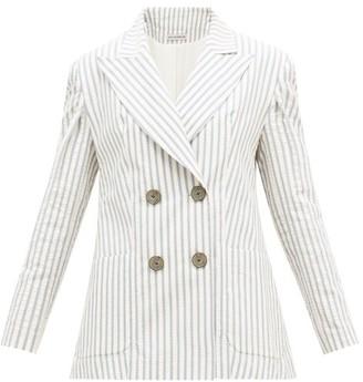 Vika Gazinskaya Striped Cotton-blend Seersucker Suit Jacket - Blue Stripe