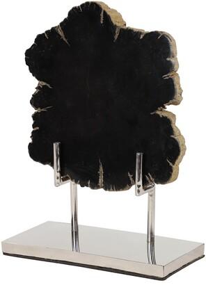 Uma Enterprises Uma Large Live Edge Black Petrified Wood Slice Sculpture On Silver Metal Stand