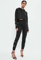 Missguided Black Large Eyelet Detail Joggers