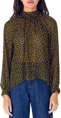 N. Whit Harper Printed Mock-Neck Long-Sleeve Silk Blouse