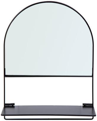 "CTG Decorative Wall Mirror With Foldable Shelf, 15""x12"", Black"