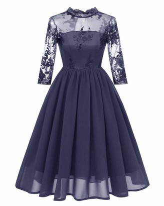 HaoHuodress Women's See Through Floral Embroidery Lace Cocktail Party Dress Stand Collar Cut Out Open Back Knee Length 3/4 Long Sleeve Bow Bridesmaid Dress Grey