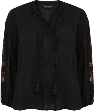 Evans Black Embroidered Sleeve Blouse