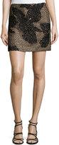 J. Mendel Embroidery Mini Skirt, Noir