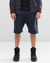 Asos Drop Crotch Shorts With Double Layer Hem In Navy