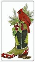 "Western Cardinal Christmas Cowboy Boot 100% Cotton Flour Sack Dish Tea Towel - Mary Lake Thompson 30"" x 30"""