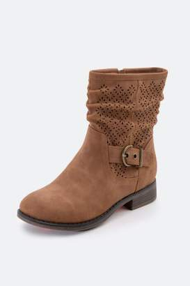 XOXO Calandra Perforated High Ankle Boot - Tan