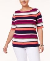 Charter Club Plus Size Pima Cotton Striped Top, Created for Macy's