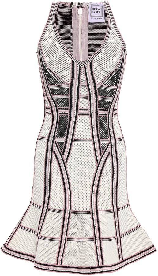 Herve Leger Fluted Pointelle-knit Mini Dress