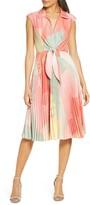 Maison Tara Sunburst Tie Front A-Line Dress