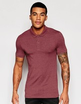 Asos Extreme Muscle Polo Shirt In Burgundy Marl