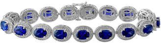 FINE JEWELRY Lab Created Blue Sapphire & Diamond-Accent Sterling Silver Bracelet