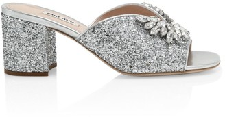Miu Miu Jewelled Glitter Mules