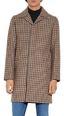 Sandro Fox Houndstooth Wool Coat