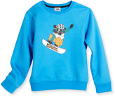Karl Lagerfeld Snowboard Cat Crewneck Sweatshirt, Blue, Size 2-5