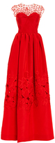 Oscar de la Renta Illusion Neck Floral Threadwork Embroidered Gown