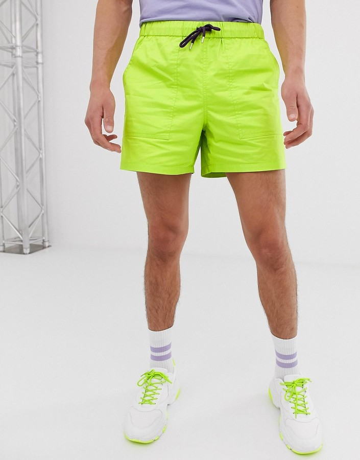 ASOS DESIGN slim shorter shorts in neon green with contrast drawcords