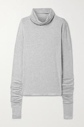Norma Kamali Draped Melange Stretch-modal Turtleneck Top - Light gray
