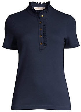 Tory Burch Women's Emily Ruffled Polo Tee