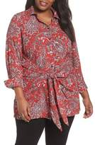 Foxcroft Plus Size Women's Serena Romantic Paisley Knotted Crepe Tunic Blouse