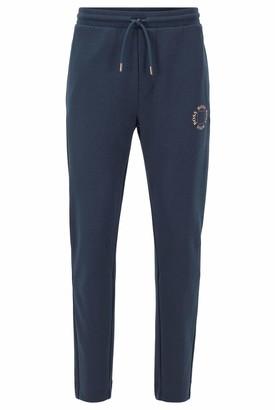 HUGO BOSS Mens Halboa Circle Regular-fit Jogging Trousers with Layered Metallic Logo