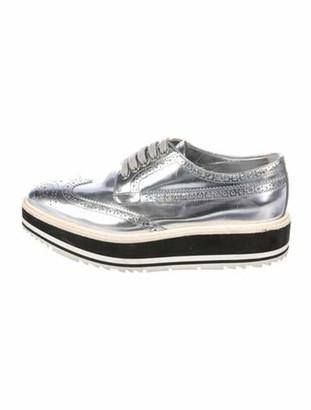 Prada Patent Leather Colorblock Pattern Wedge Sneakers Metallic