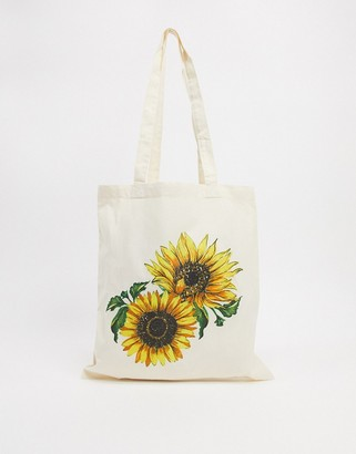 ASOS DESIGN canvas shopper with sunflower print
