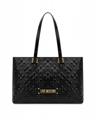 Love Moschino Quilted Shopper With Logo Woman Black Size Single Size