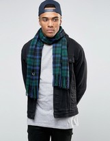 Fred Perry Blackwatch Tartan Scarf In Cashmere Mix