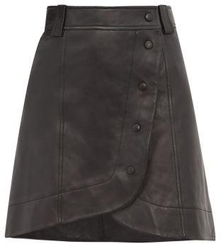 Ganni Wrap-around Buttoned Leather Mini Skirt - Black