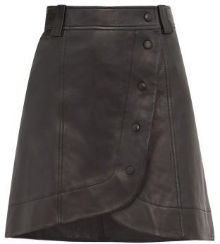 Ganni Wrap-around Buttoned Leather Mini Skirt - Womens - Black