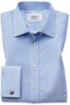 Charles Tyrwhitt Classic Fit Bengal Stripe Sky Blue Cotton Dress Casual Shirt French Cuff Size 18/38