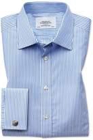 Charles Tyrwhitt Classic Fit Bengal Stripe Sky Blue Cotton Dress Casual Shirt Single Cuff Size 17/37
