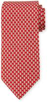 Salvatore Ferragamo Frog-Print Silk Twill Tie, Red