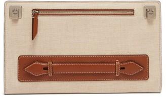 BEIGE Metier - Runaway Linen-canvas Clutch Bag - Womens Multi