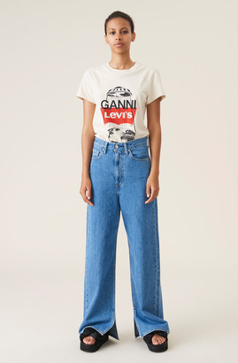 Ganni Medium Indigo Denim High-waisted Pants