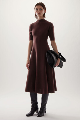 Cos High Neck Knitted Midi Skater Dress