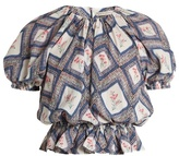 Emilia Wickstead Verity Tapestry-print gathered crepe top