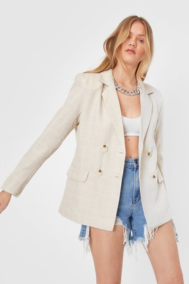 Nasty Gal Womens What a Great Square Relaxed Check Blazer - Beige