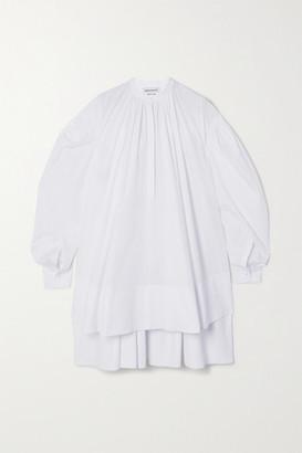 Alexander McQueen Oversized Asymmetric Pleated Cotton-poplin Mini Dress - White
