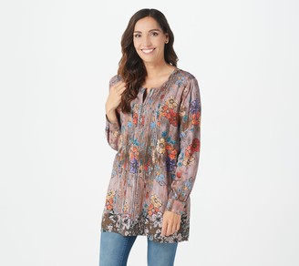 Tolani Collection Regular Printed Woven Tunic w/ Pleat Detail