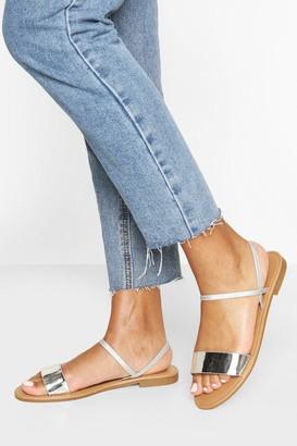 boohoo Metallic Elastic Strap Sandals