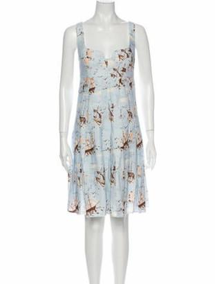 Emilia Wickstead Linen Knee-Length Dress Blue