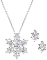 Charter Club Silver-Tone Crystal Snowflake Necklace and Earrings Set, Only at Macy's