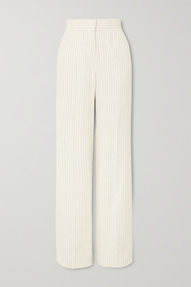 Max Mara Classe Pinstriped Linen And Silk-blend Straight-leg Pants - White